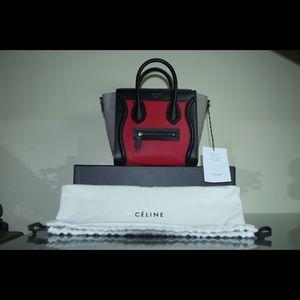 CELINE PARIS - Nano Cross/Shoulder Bag, Pink/Red